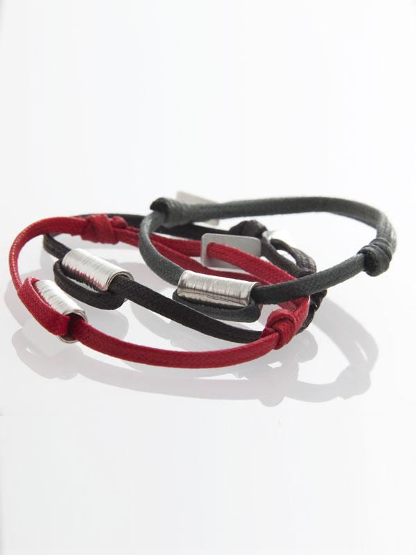 Bracelets Tube argent martelé et textile